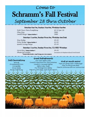 Fall Festival starts September 28th