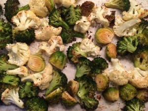Simple Roasted Broccoli, Cauliflower and Brussels Sprouts