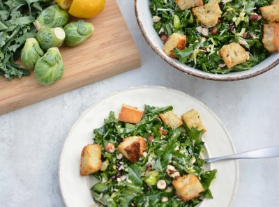 Kale and Brussels Sprouts Salad with Cranberry Garlic Dressing