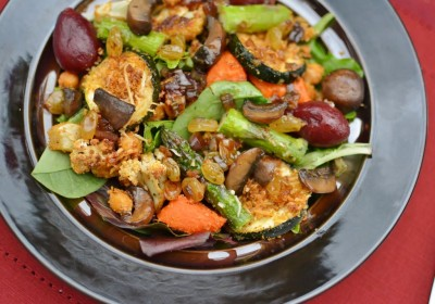 Roasted Vegetable Salad with Balsamic Raisin Dressing