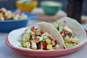 Chipotle Salmon Taco with Apple-Cucumber Salsa