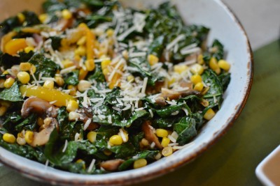 Wilted Kale Salad with Corn & Mushrooms