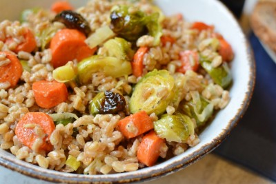 Farro with Roasted Brussels Sprouts and Carrots