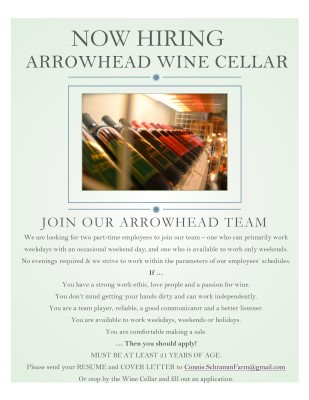 Our wine shop is hiring!