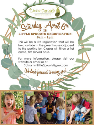 Little Sprouts registration is Saturday, April 6th 9am – 1pm